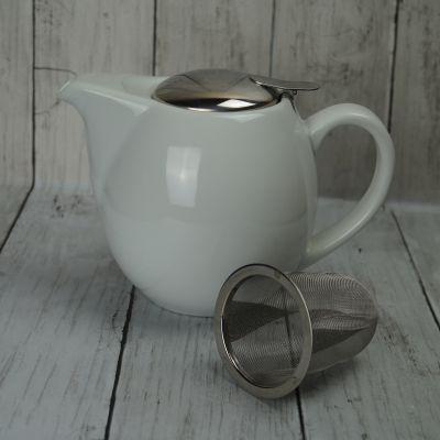 White 0.9l Family Teapot