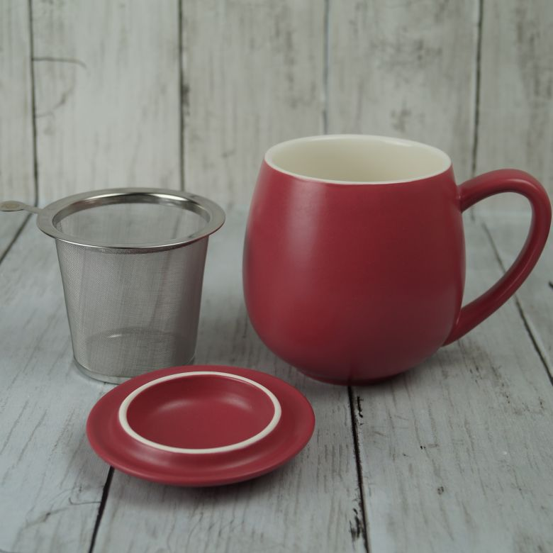 Matt Red Berry Infuser Mug